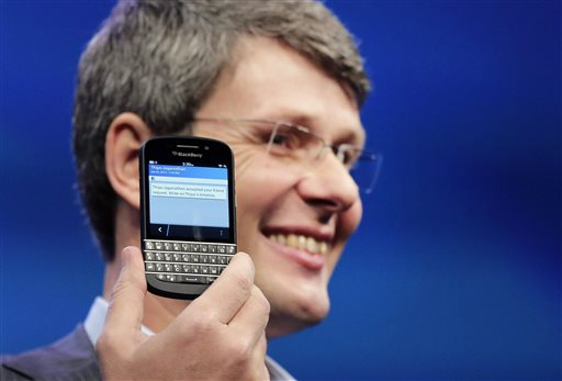 Thorsten Heins, CEO of Research in Motion, introduces the BlackBerry Z10, in New York. in this Jan. 30, 2013 photo. Sales of the the flagship phone missed analysts' estimates by almost a million units last quarter.
