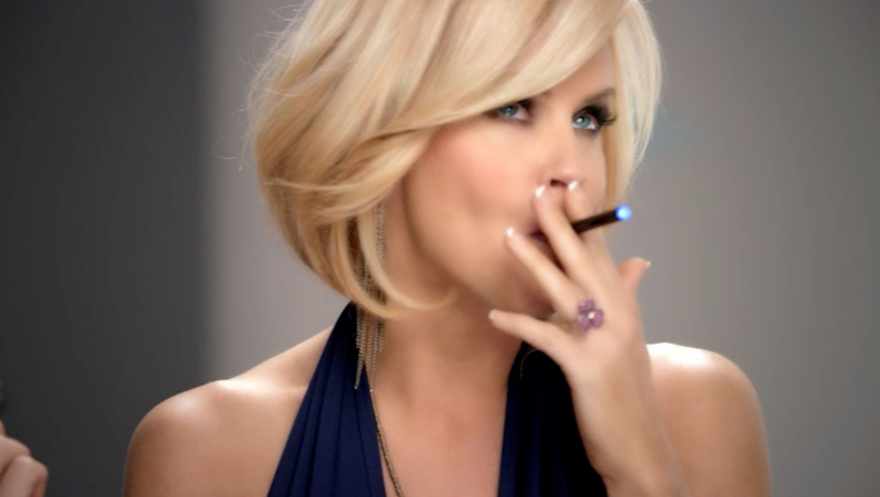 A screen grab of the new Blu Ecigs advertisement shows Jenny McCarthy pitching the electronic cigarettes.