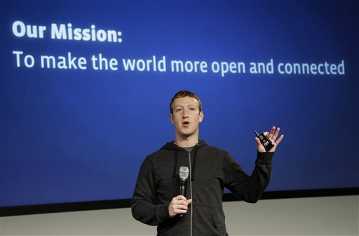 Facebook CEO Mark Zuckerberg speaks at Facebook headquarters in Menlo Park, Calif., in this March 2013 photo.