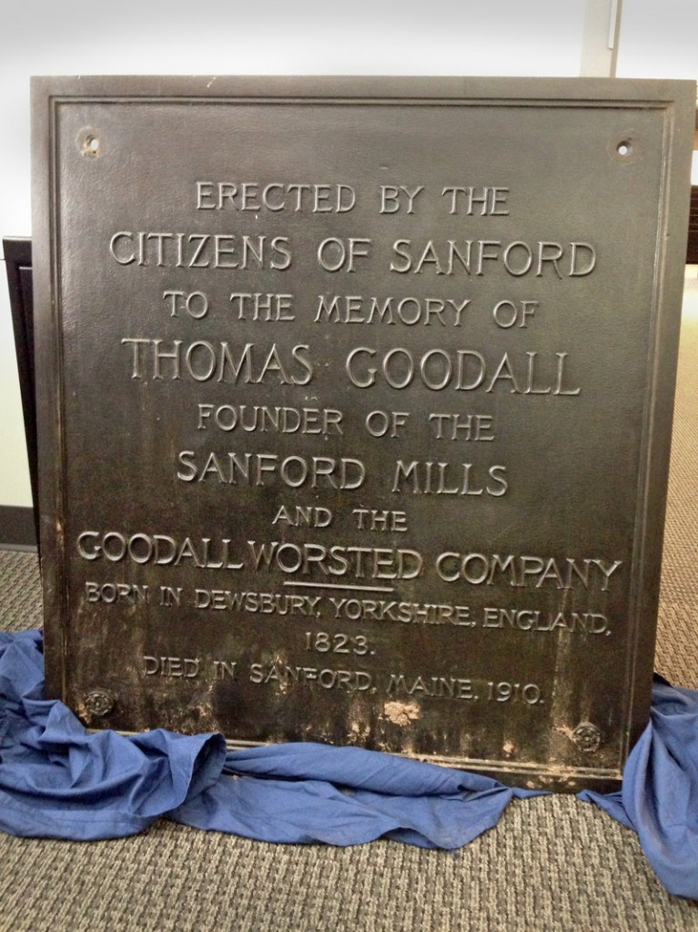 This plaque was stolen from the Thomas Goodall statue in Sanford on Aug. 10. After receiving a tip, police say they found it Saturday at the Main Street apartment of 21-year-old Zachary Blier.