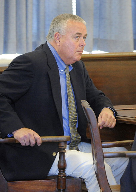 Accused prostitution client Donald Hill listens Monday, Aug. 19, 2013 during arguments at York County Superior Court in Alfred. Hill was acquitted Tuesday.