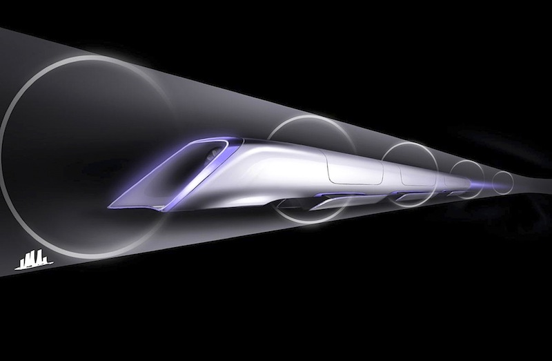 An image released by Tesla Motors, is a conceptual design rendering of the Hyperloop passenger transport capsule. Billionaire entrepreneur Elon Musk on Monday, Aug. 12, 2013 unveiled a concept for a transport system he says would make the nearly 400-mile trip in half the time it takes an airplane. The