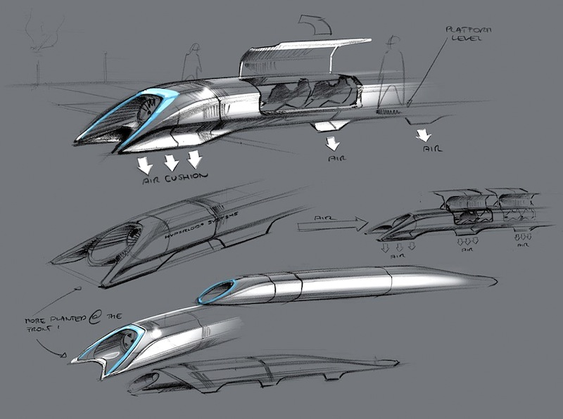 This image released by Tesla Motors shows a conceptual design sketch of the Hyperloop passenger transport capsule. Billionaire entrepreneur Elon Musk on Monday, Aug. 12, 2013 unveiled the concept for a transport system he says would make the nearly 400-mile trip in half the time it takes an airplane. The