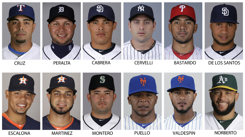 Players who accepted 50-game penalties for using performance-enhancing drugs, from left, top row: Texas Rangers' Nelson Cruz, Detroit Tigers' Jhonny Peralta, San Diego Padres' Everth Cabrera, New York Yankees' Francisco Cervelli, Philadelphia Phillies' Antonio Bastardo and San Diego Padres' Fautino de los Santos. Bottom row: Houston Astro's Sergio Escalona, Houston Astros' Fernando Martinez, now with the New York Yankees, Seattle Mariners' Jesus Montero, New York Mets' Cesar Puello, New York Mets' Jordan Valdespin and Oakland Athletics' Jordan Norberto.
