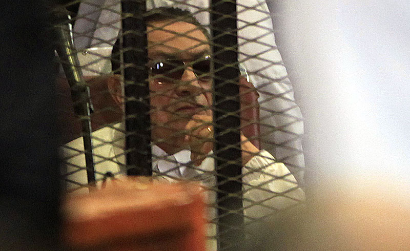 Former Egyptian President Hosni Mubarak, 85, attends his retrial in Cairo on Sunday.