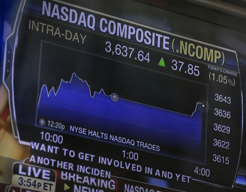 A television displays news about the Nasdaq on the Nasdaq building in New York on Thursday. Nasdaq halted trading Thursday because of a technical problem, the latest glitch to affect the stock market.