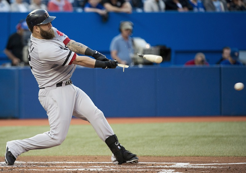 Boston Red Sox first baseman Mike Napoli breaks his bat on a ground-out during the second inning of a baseball game against the Toronto Blue Jays in Toronto on Wednesday, Aug. 14, 2013. (AP Photo/The Canadian Press, Nathan Denette) Blue Jays;athlete;athletes;athletic;athletics;Canada;Canadian;Center;Centre;competative;compete;competing;competition;competitions;event;game;Jays;League;Major;MLB;pro;professional;Rogers;sport;sporting;sports;Toronto;baseball;American;AL;2013