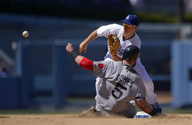 Jonny Gomes of the Red Sox steals second as Dodgers second baseman Mark Ellis takes a late throw from home during the sixth inning Saturday in Los Angeles.