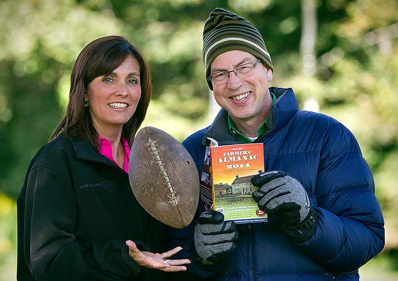 Farmers' Almanac managing editor Sandy Duncan, left, and editor Peter Geiger, pose in Lewiston. The 197-year-old almanac is predicting a colder-than-normal winter for most of the United States, with a winter storm hitting around the time of the Super Bowl on Feb. 2.