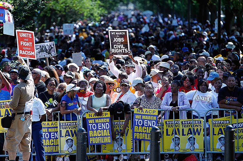Crowds rally at the Lincoln Memorial in Washington to commemorate the 50th anniversary of the 1963 March on Washington on Saturday. Fifty years ago, on the actual anniversary, April 28, 1963, Dr. Martin Luther King Jr. delivered his