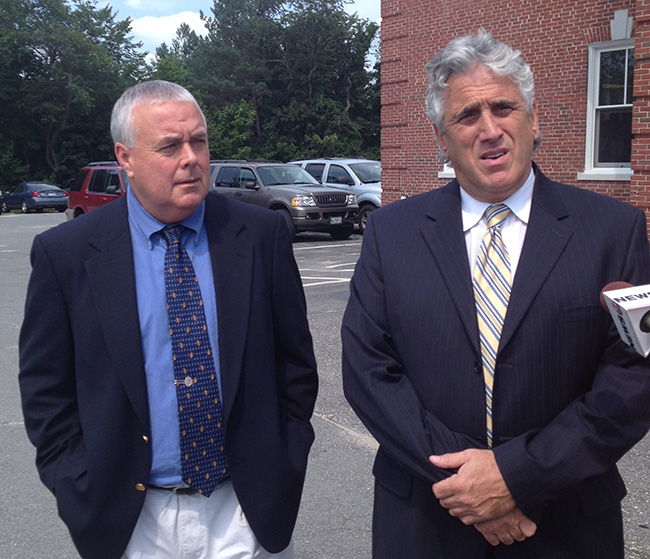 Donald Hill, left, appears with his attorney, Gary Prolman, outside York County Superior Court on Tuesday after being acquitted on a charge of engaging a prostitute.
