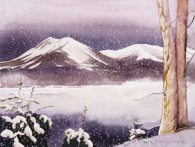 """Snow Falling on Katahdin"" by Evelyn Dunphy."