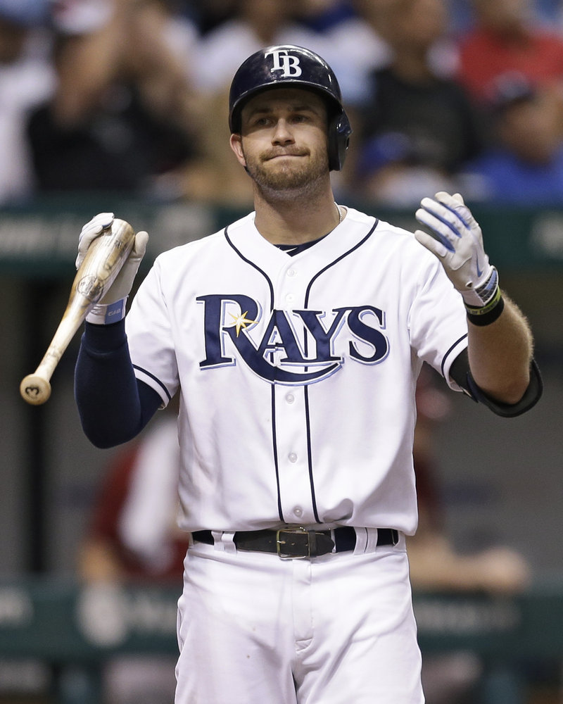 Evan Longoria of the Rays reacts after striking out with the bases loaded to end the seventh inning Wednesday in St. Petersburg, Fla. Arizona won, 7-0.