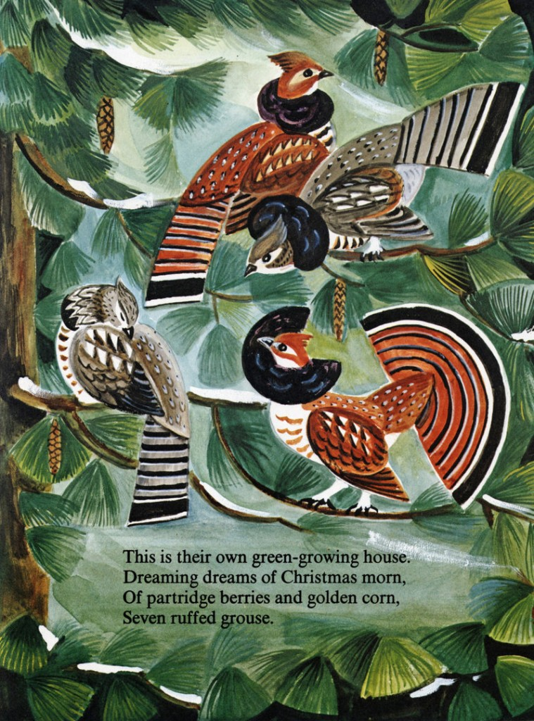 """Kevin Hawkes' artwork from Dahlov Ipcar's """"Seven Ruffed Grouse"""" from """"My Wonderful Christmas Tree"""" is part of the """"Tell Me a Story: About Maine"""" exhibition at the Atrium Art Gallery in Lewiston."""