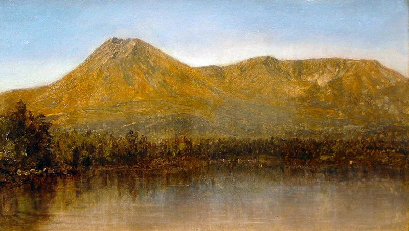 A small oil sketch of Katahdin by Sanford Gifford was made in the fall of 1877 during an excursion to the mountain with Frederic Church and other painters.