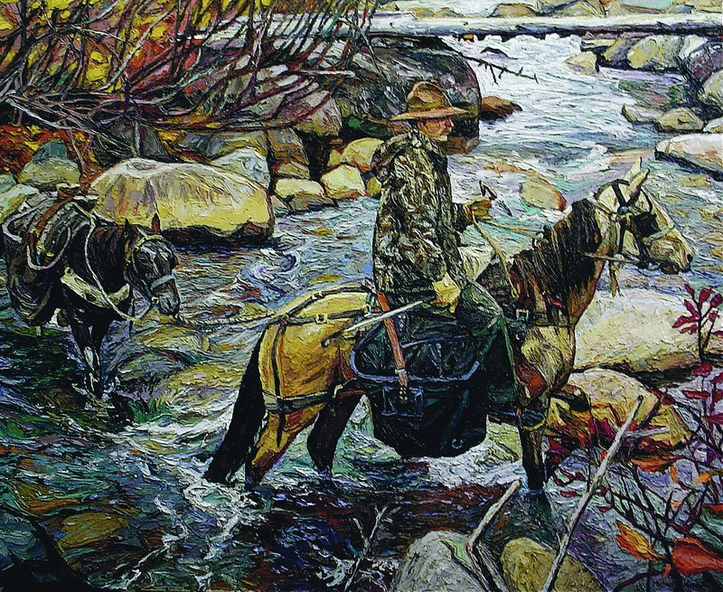 A Michael Vermette painting shows camp caretaker Al Cooper fording Sandy Stream on horseback.