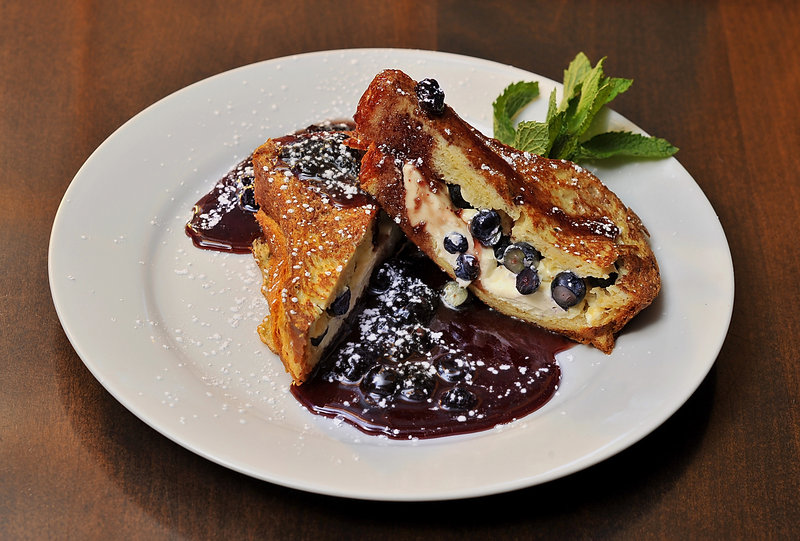 Blueberry-stuffed french toast from chef Lisa Kostopoulos of The Good Table in Cape Elizabeth.