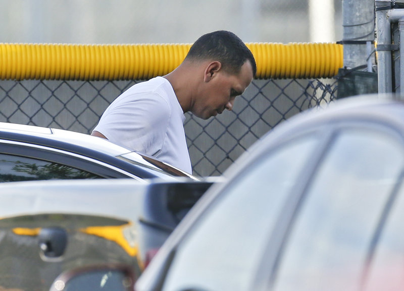 New York's Alex Rodriguez heads to the parking lot at the Yankees' minor league complex in Tampa, Fla., on Thursday.