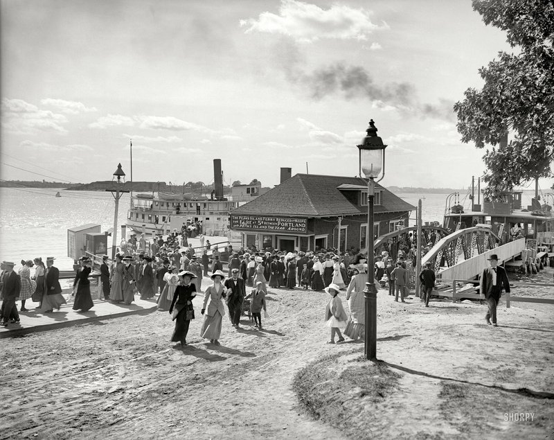A 1910 black-and-white photo of the Peaks Island ferry also appears in color thanks to the digital work of Patty Allison.