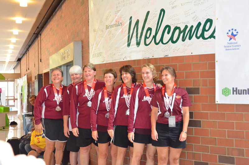 Members of the Flashes women's basketball team that won a silver medal in the 55-59 age group at the National Senior Games, from left to right: Deb Smith (Portland), Nancy Richardson (South Portland), Joan Howard (Biddeford), Nancy Fortin (Richmond), Joanne Lannin (Gorham), Susan Dunn (Buxton) and Coach Lisa Hodge (Windham).