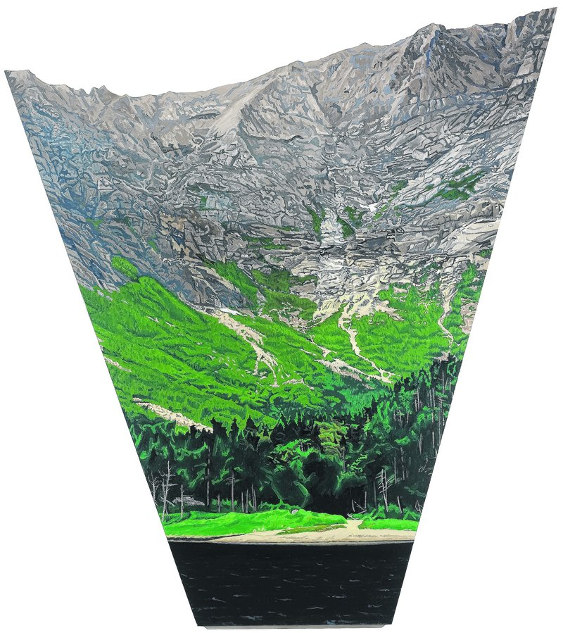 Sam Cady's shaped canvas of Knife's Edge over Chimney Pond