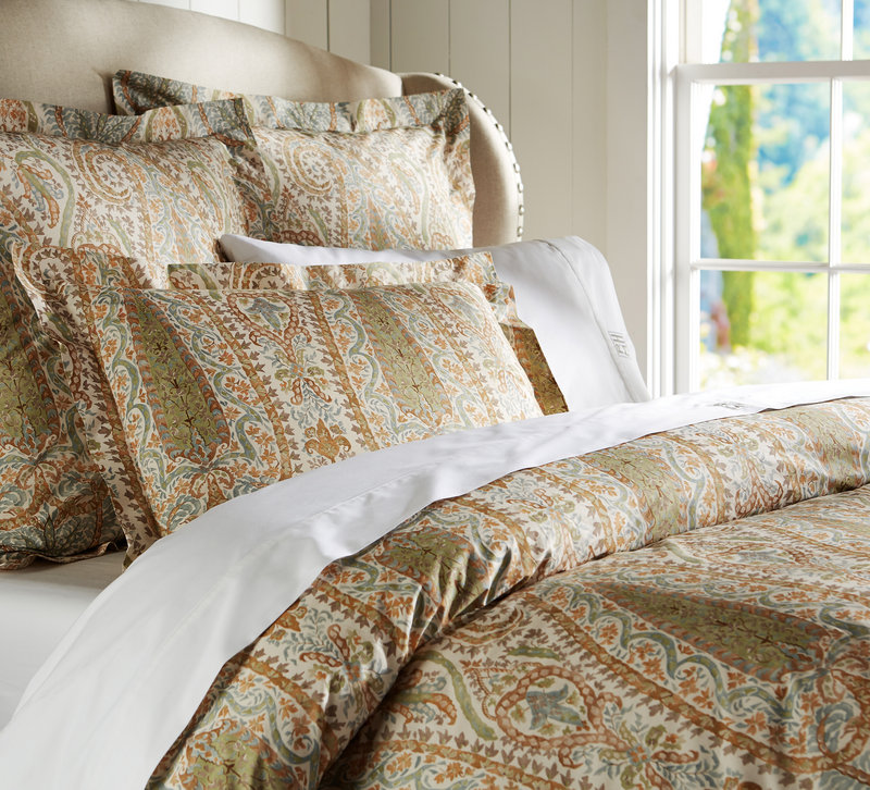 Pottery Barn's Agatha bedding set that comes in a blue or red colorway