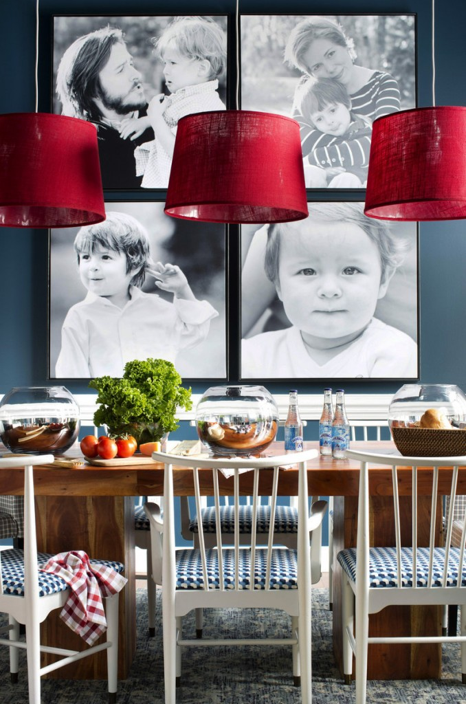 Family photos are cropped tightly, then printed over scale for use as art in a family room dining area