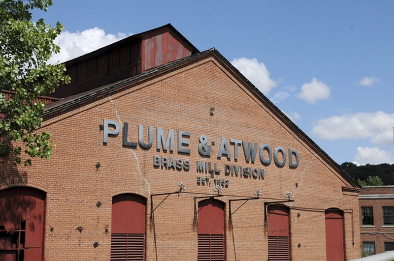 This photo shows the facade of the former Plume & Atwood brass mill. Over a decade, the owner spent more than $5 million to purchase and clean up the historic complex.