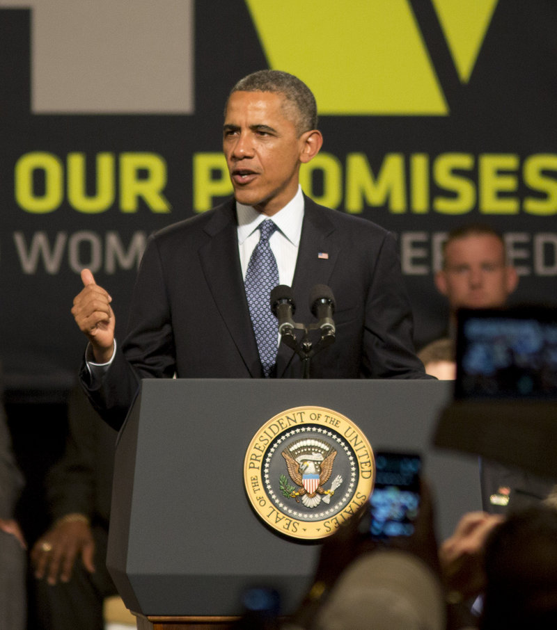 Obama addresses the Disabled American Veterans convention on Saturday.