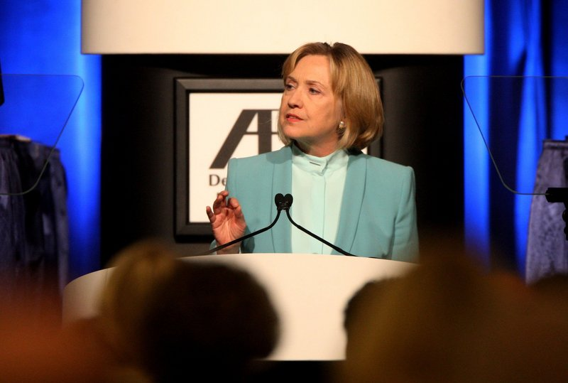 "Hillary Clinton addresses the ""assault on voting rights"" at the American Bar Association meeting Monday in San Francisco."