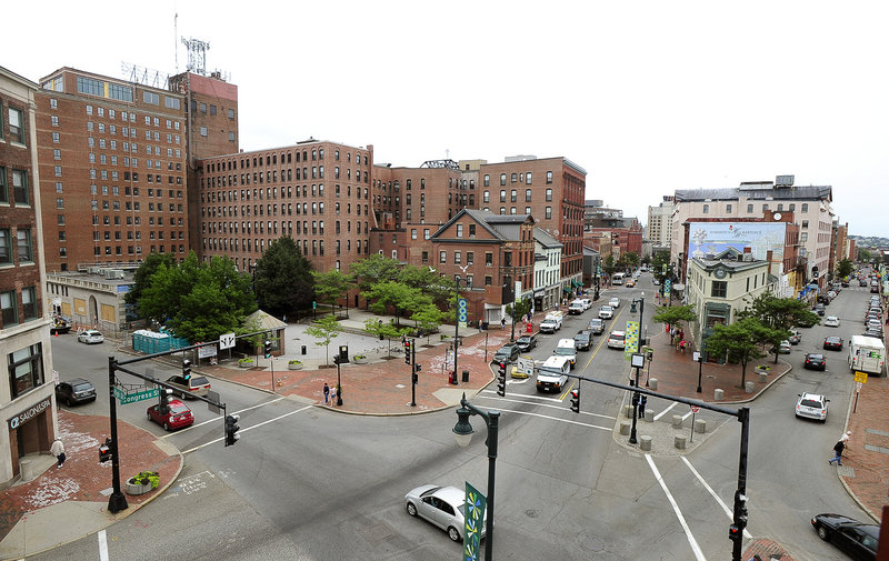 City planners in Portland are calling for ideas for the public space around the intersection of Congress, High and Free streets, including the open space in front of the Portland Museum of Art and the triangular Hay building.