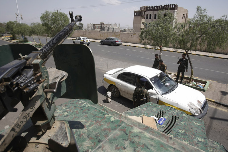 A checkpoint operates near the U.S. embassy in Yemen. A recent terrorist threat closed 19 embassies for more than a week.