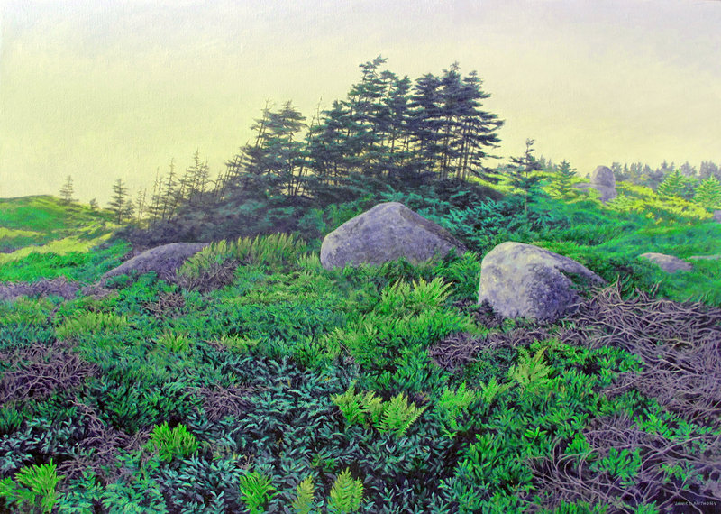 """Resting Boulders,"" acrylic by Janice Anthony."