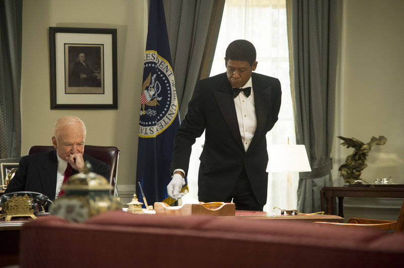 "Forest Whitaker with Robin Williams as President Eisenhower in a scene from ""Lee Daniels' The Butler."""