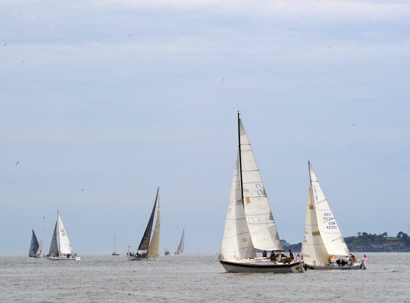 Boats sail in the MS Regatta in Casco Bay last August. This MS Harborfest Weekend is expected to draw thousands of spectators and raise $100,000 for the multiple sclerosis society's regional chapter.