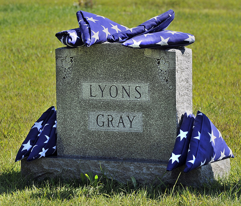 This memorial is on the site of the burial of four members of the Lyons and Gray families: Maine National Guard Private Francis Edward Lyons, US Navy Hospital Mate 3rd Class Laurence Gray, Gunners Mate 1st Class Francis William Lyons Sr., and Lieutenant Donald Gray.
