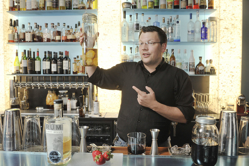 At Gingko Blue in Portland, bar manager Guy Streitburger makes his strawberry-rhubarb shrub with Eight Bells rum.