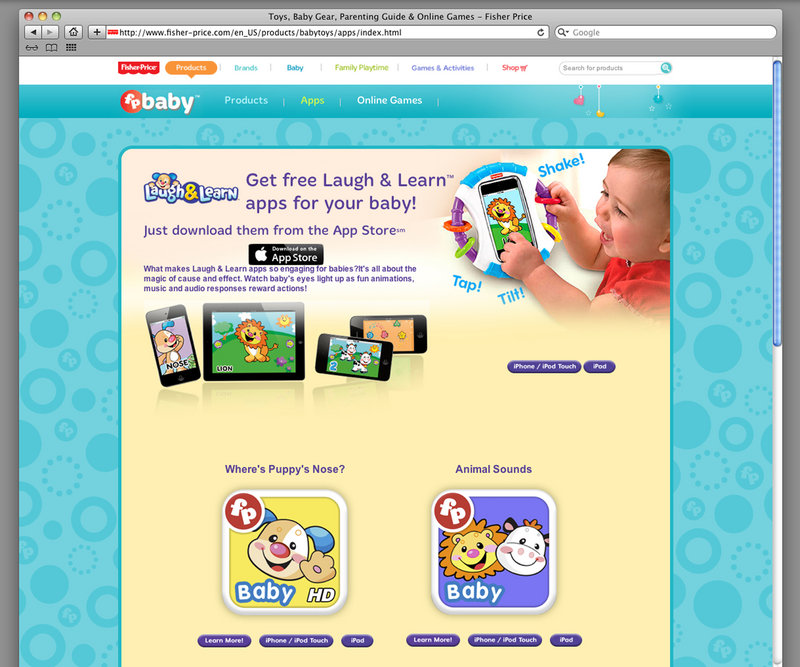 An image from the Fisher-Price website shows Laugh & Learn mobile apps, which the company says teach babies colors, shapes, letters and numbers. A complaint filed with the Federal Trade Commission alleges that Fisher-Price can't back up those claims. Fisher-Price says research goes into all its toys.