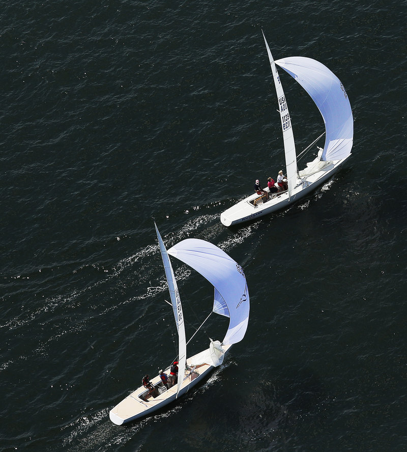 Two sailboats compete in the MS Regatta on Saturday.