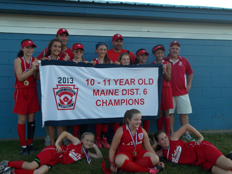The South Portland 10-11 softball all-star team recently won the Little League Softball state championship. Team members, from left, front row: Maria Degifico, Aileen Campbell and Maria Buck; back row: Lydia Grant, Ashlee Aceto, Shaelyn Kierstead, Hattie Tetzlaff, Mia Filieo, Aviyonna Kim and Fiona Stawarz; back row: Joe Aceto, Carl Tetzlaff and Bill Campbell; absent from photo is Hannah Twombley.