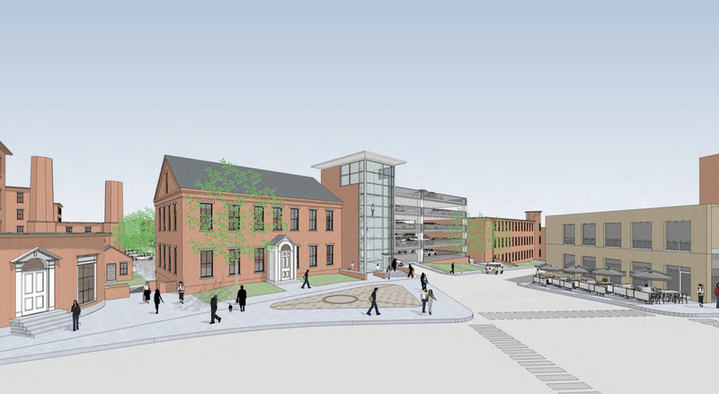 A drawing shows what the proposed municipal parking garage would look like at the corner of Main and York streets in downtown Biddeford.