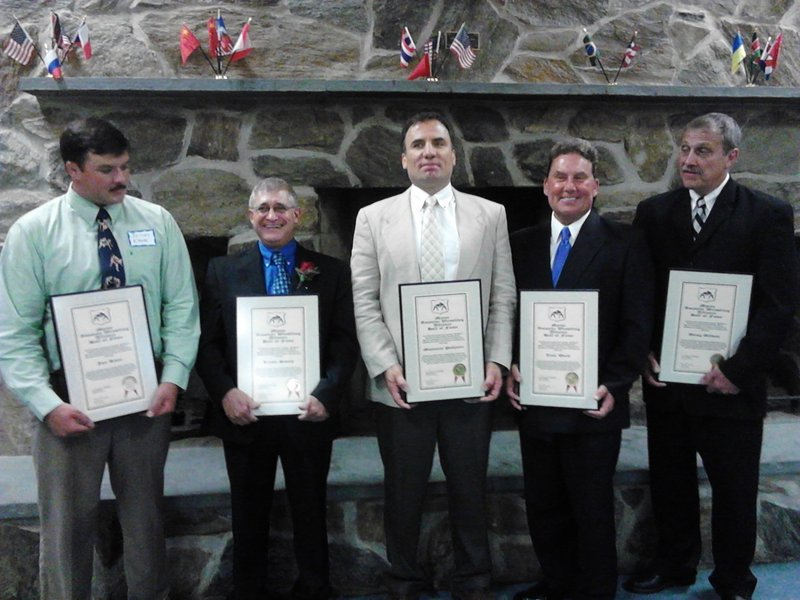 The 2013 inductees into the Maine Wrestling Hall of Fame, from left to right: Jon Kane, Rusty Smith, Maynard Pelletier, Dr. Thomas Ward and Douglas Gilbert.