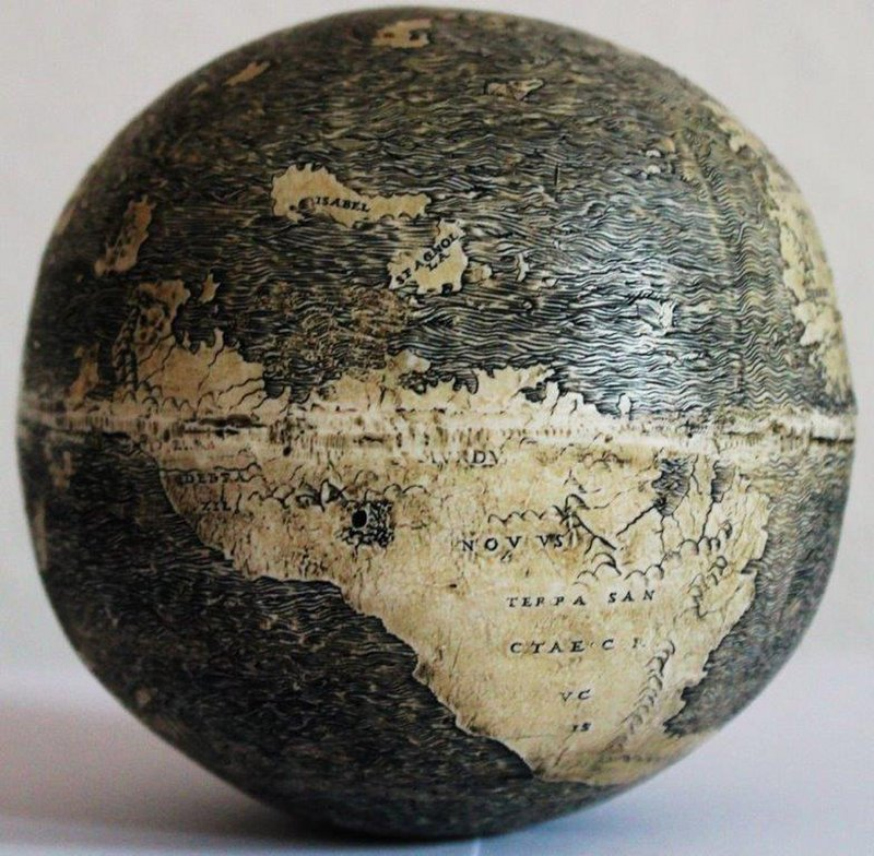 North America is depicted on a globe as a series of islands. The sphere is made of two conjoined ostrich eggs and is dated to 1504, making it the oldest in the world.