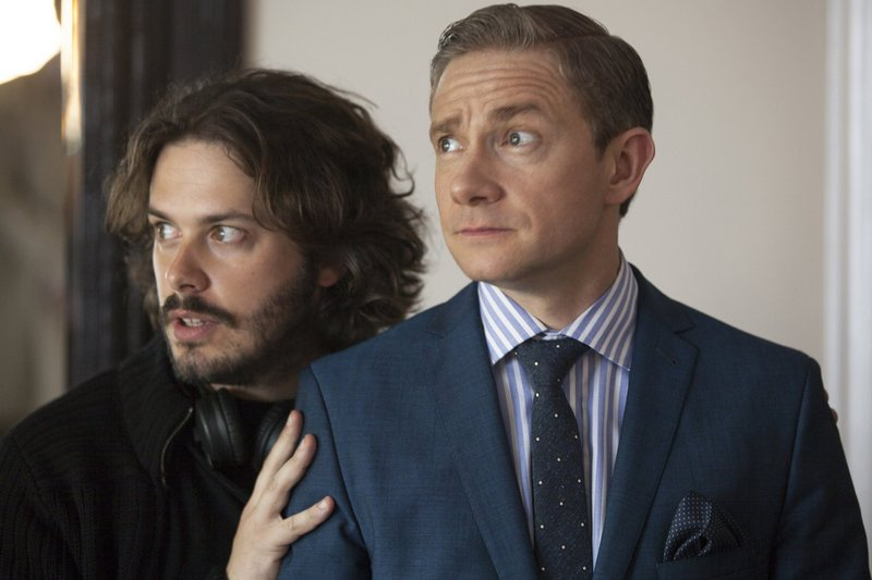 "Director Edgar Wright positions Martin Freeman during shooting of a scene for ""The World's End."