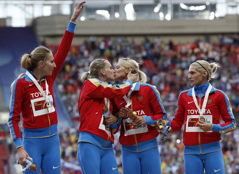 Perhaps as a gesture of gay-rights solidarity, two members of Russia's gold medal relay team kissed at the medal ceremony for the World Athletic Championships in Moscow on Aug. 17.