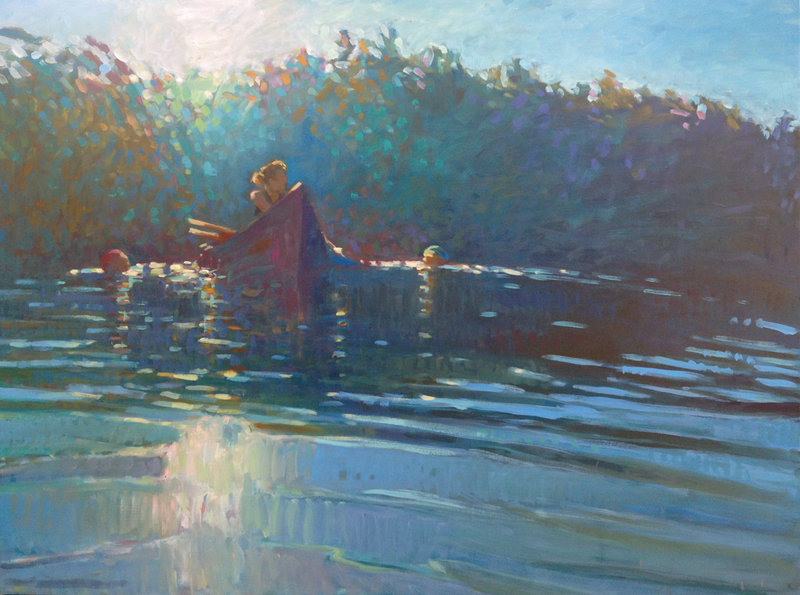 """So Bright, the Morning Light on the Surface,"" oil on panel by Jessica Stammen."