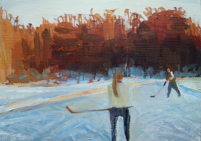 """Sunday Pond Hockey I,"" oil on panel by Jessica Stammen."