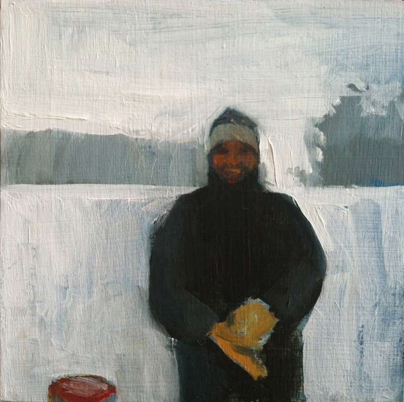 """Dad and His Mittens,"" oil on panel by Jessica Stammen."