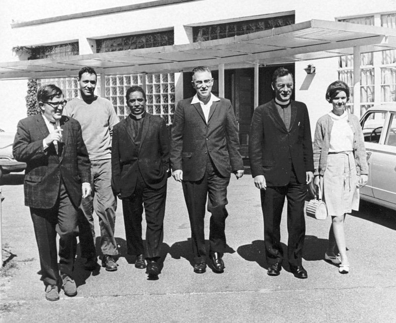 Rabbi Harry Sky, left, Gerald Talbot, second from left, and other Maine civil rights activists prepare to board buses headed for the March on Washington in 1963. When Sky told his congregates in Portland about the planned march, they insisted that he participate and paid for his trip.