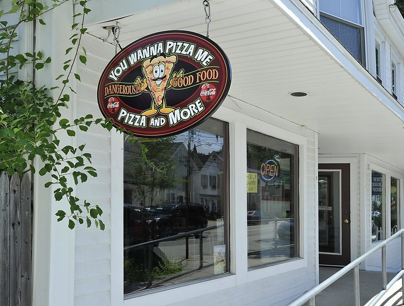 The entrance to You Wanna Pizza Me on Main Street in Yarmouth.